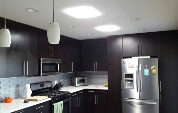 square daylighitng device in kitchen