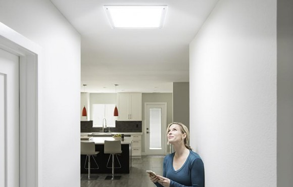 square daylighitng device in hallway